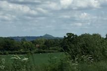 View of Glastonbury Tor in the distance