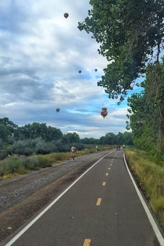 The nearby Bosque trail system offers a very nice trails both paved and I paved and runs almost the full length of the city.   These trails are perfect for walking, running and biking.  Aside from a variety of wild life it is not uncommon to see hot air balloons in the mornings.