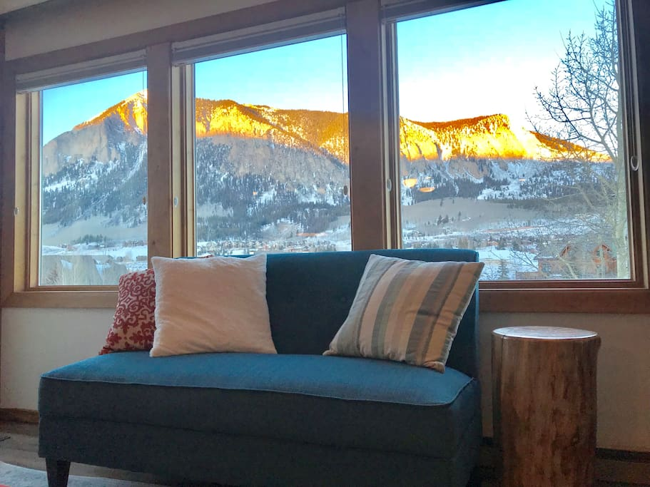 Amazing views of Mt. Crested Butte from the living room!