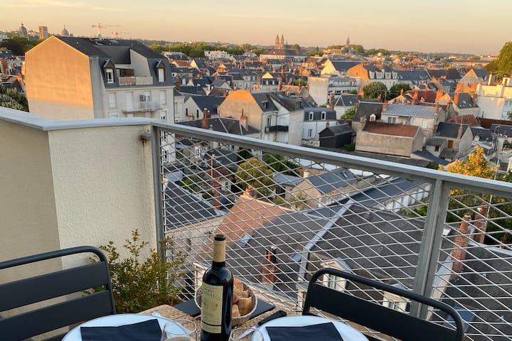 Appartement Tours centre, calme, balcon avec vue