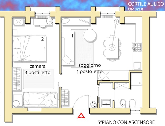 planimetria appartamento su cortile interno