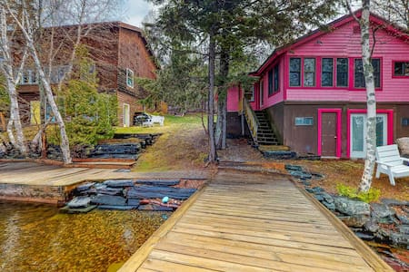 Two lakefront cabins w/ dock & firepit - great for families & groups, 2 dogs OK!