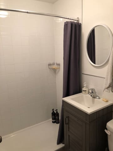 Spacious new walk-in shower