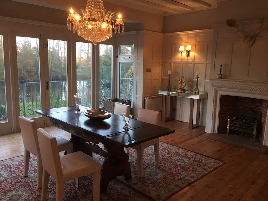 The wood-panelled dining room