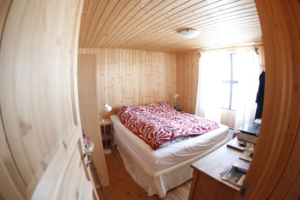 Bedroom with 1 double bed, closet, TV and VCR/DVD