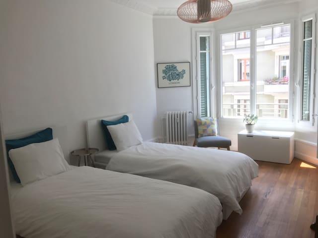 Grande chambre double, 2 lits simples (90x200cm), 2 armoires/penderies. Big double room, 2 single beds (90x200cm)