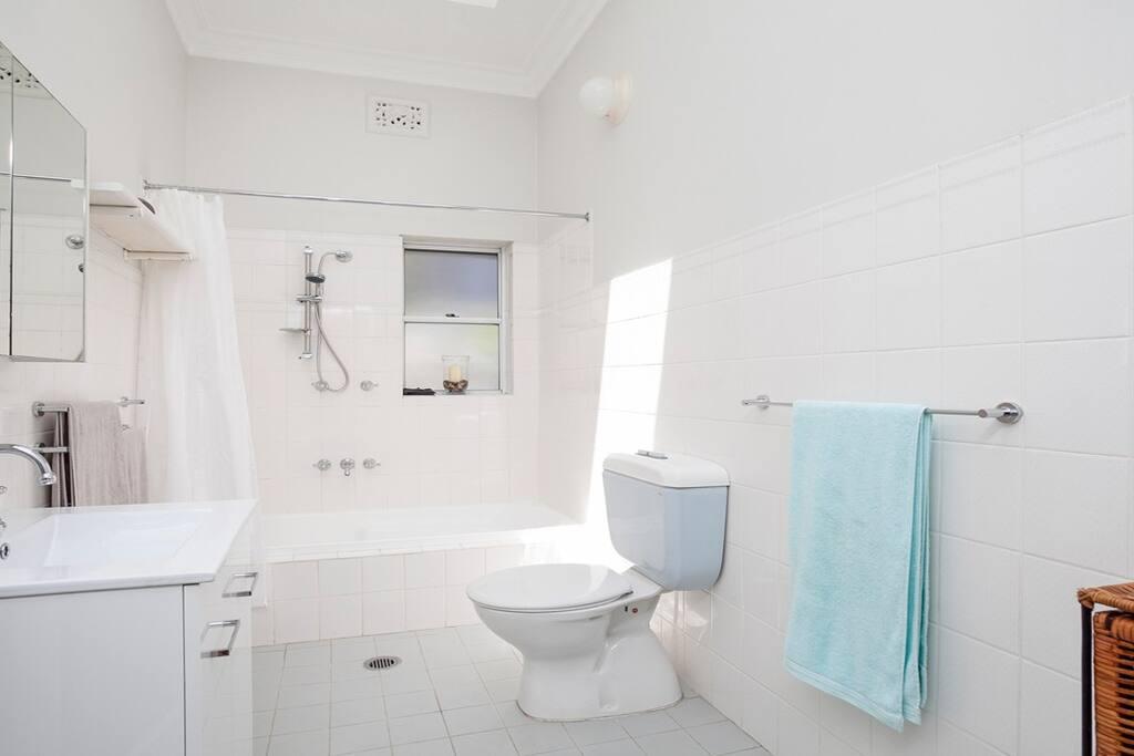 Spacious bathroom with shower and bath.