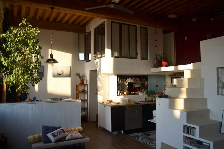 Chambre cosy en mezzanine dans appartement Canut - Lyon
