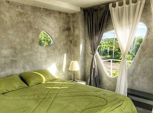Main bedroom with king size bed and beautiful views.