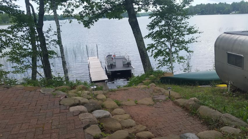 Cabin and Pontoon on Lake Minnesuing