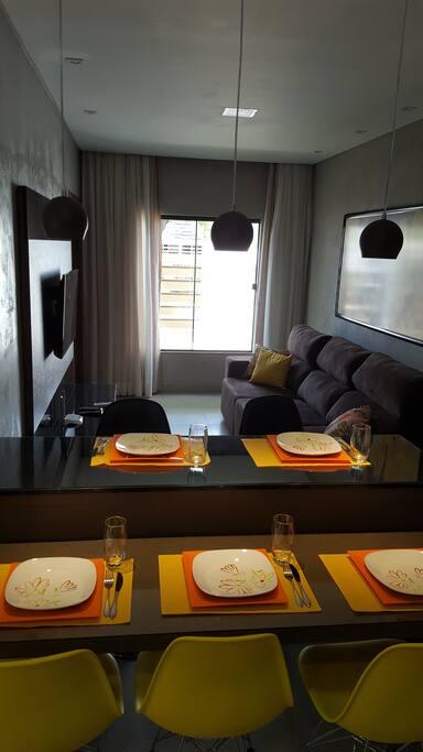 Integração da sala e cozinha