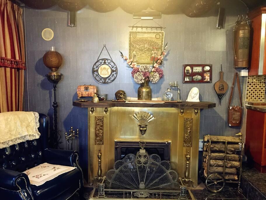 全铜欧洲古董真火壁炉
