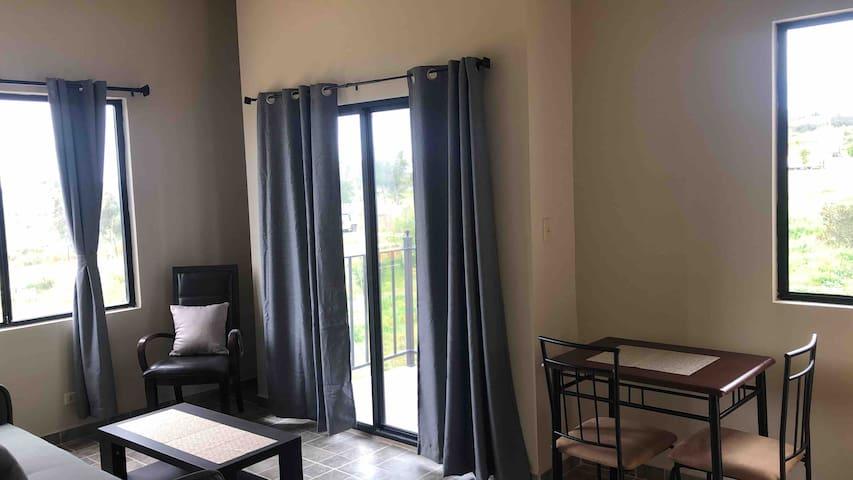 Sala con sofá cama y balcón pequeño comedor