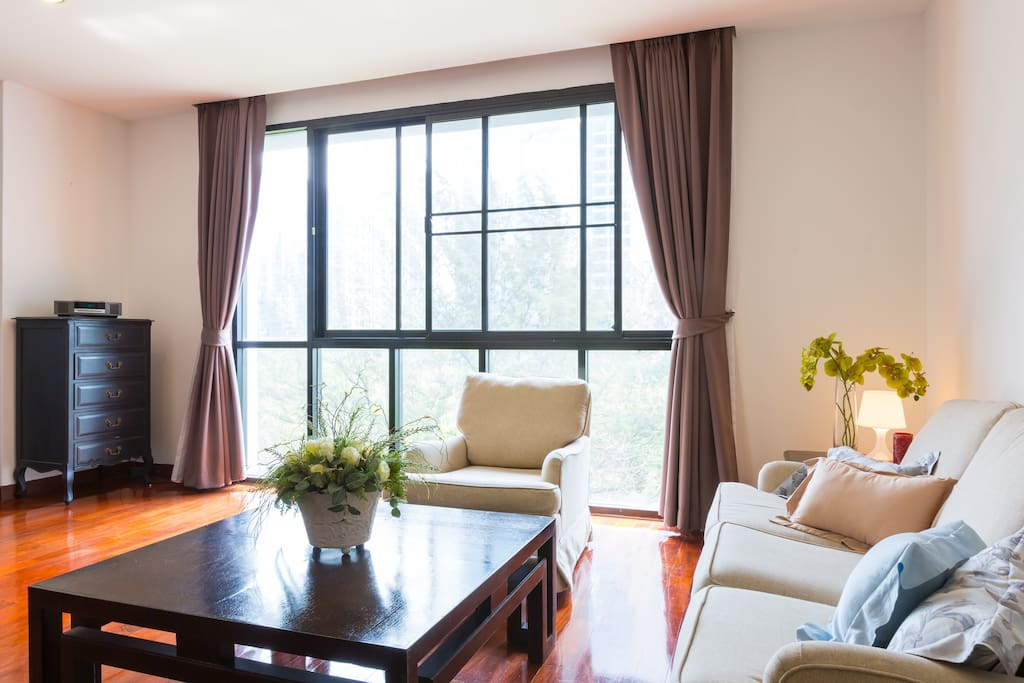 Living room with high ceiling window over look at the US Embassy resident garden view