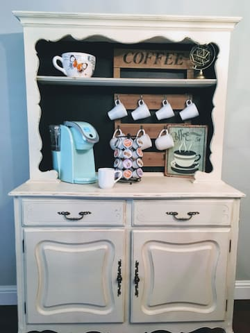fully stocked coffee bar to get you going in the morning!