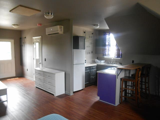 """Entry door to the left.  TV (not shown) sits on the dresser.  Heat and air """"minisplit"""" above the dresser.  Kitchen with stove, fridge with freezer on top, microwave."""