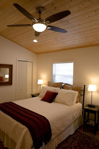 three speed fan/remote above queen bed, bed triple sheeted
