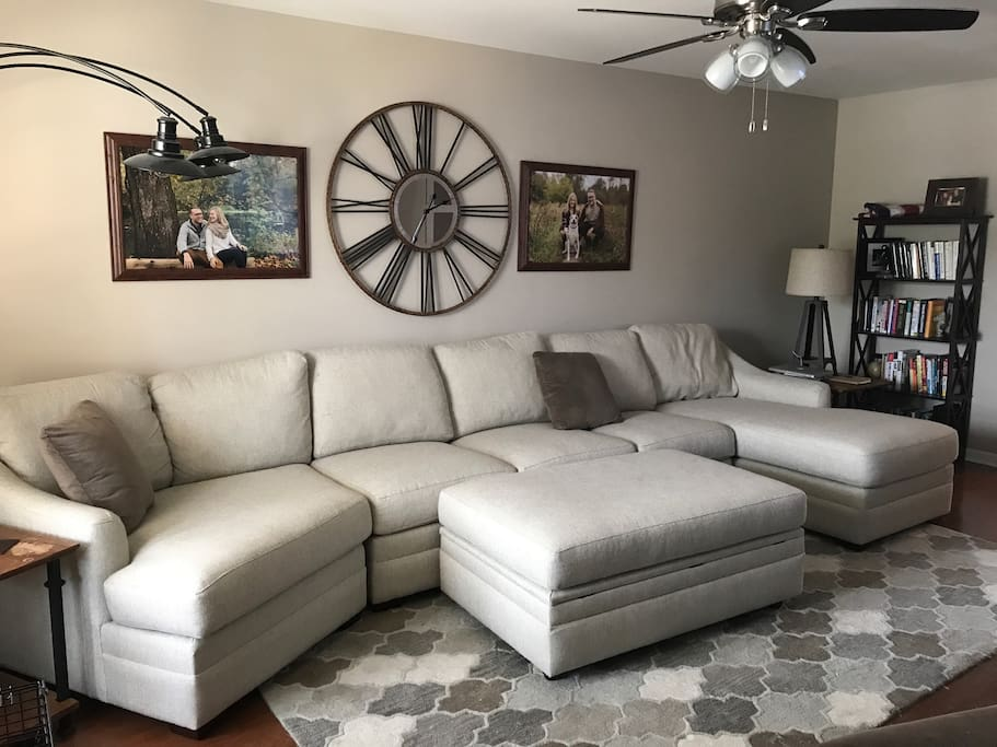 Large sectional couch can easily sleep 2