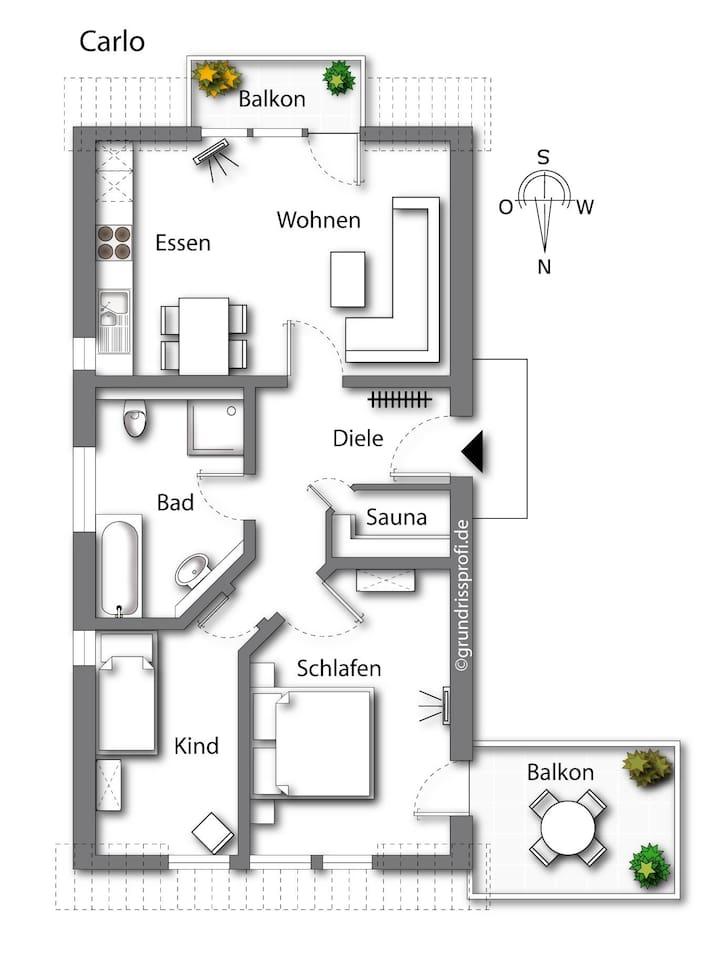 tolle Raumaufteilung mit Süd- und Westbalkon, 2 Schlafzimmer, Sauna....