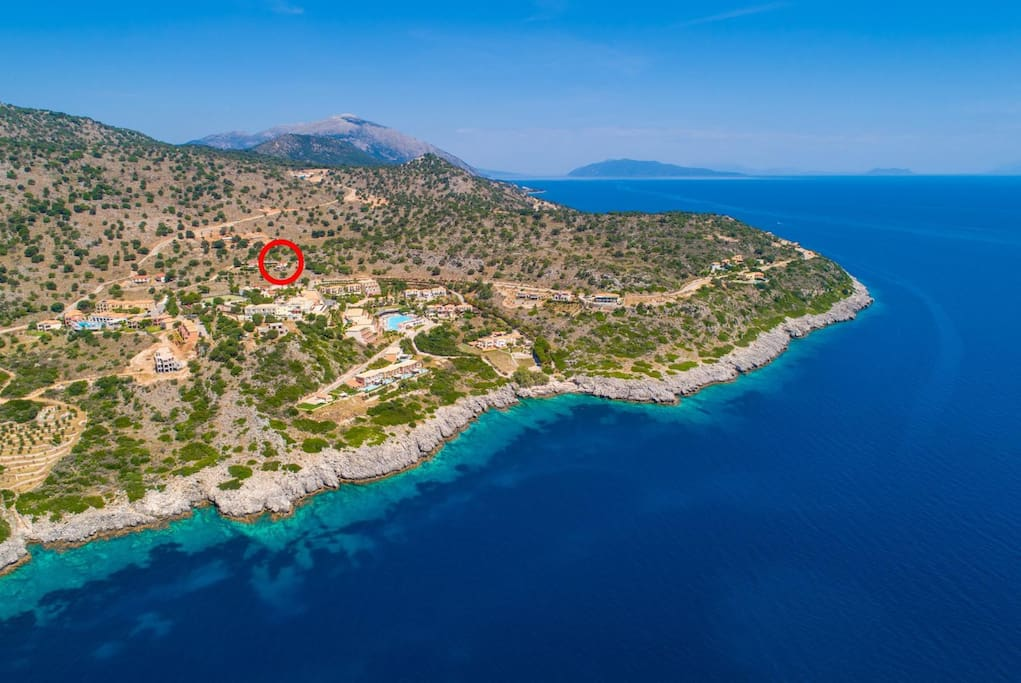 Aerial view showing location of Villa Olympia