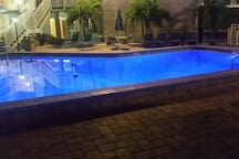 Larger of the 2 heated pools.  Lighted at night for your safety and great ambiance!