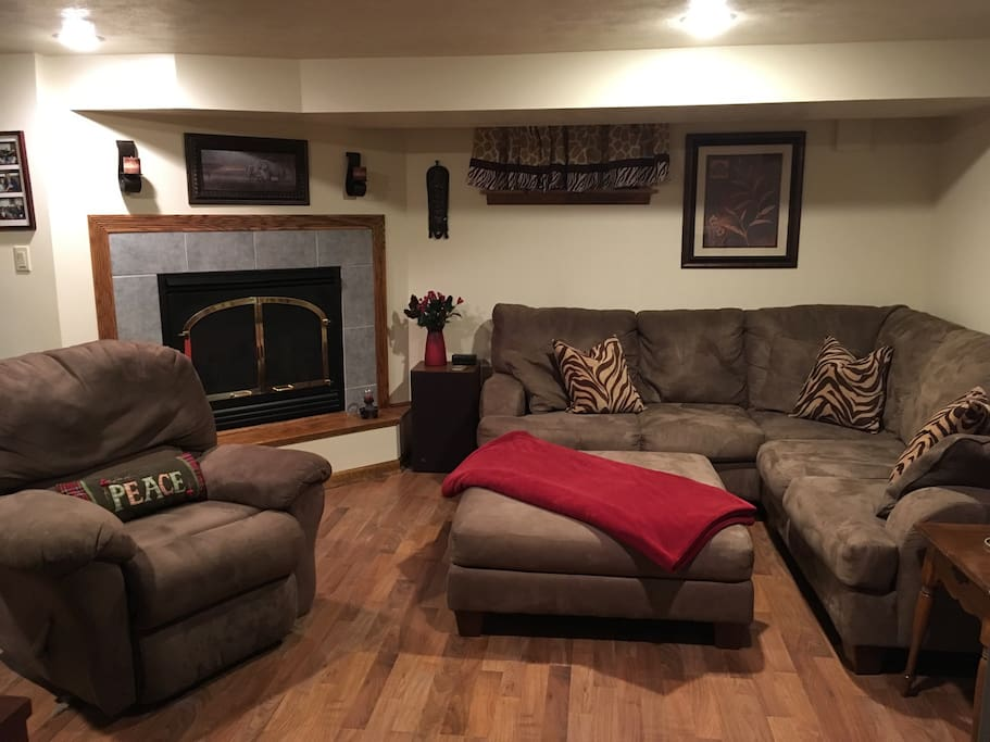 Full living room with gas fireplace!