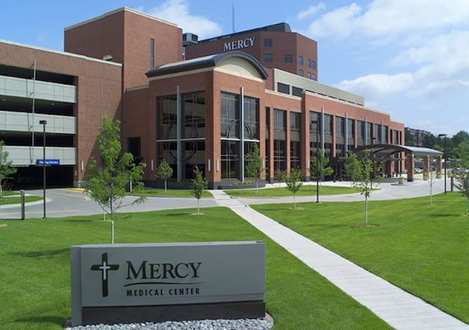 Mercy Medical Center is 0.5 mile away (less than 10 min walking)