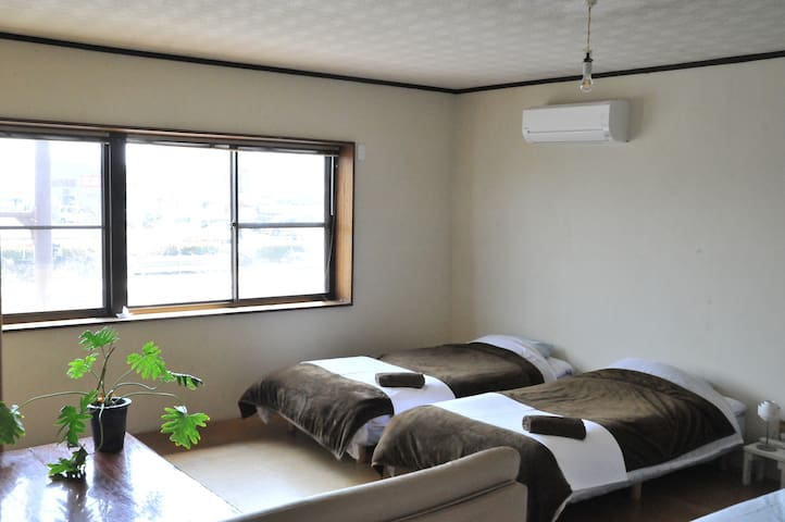 Easy access to Naoshima: Seaside bed