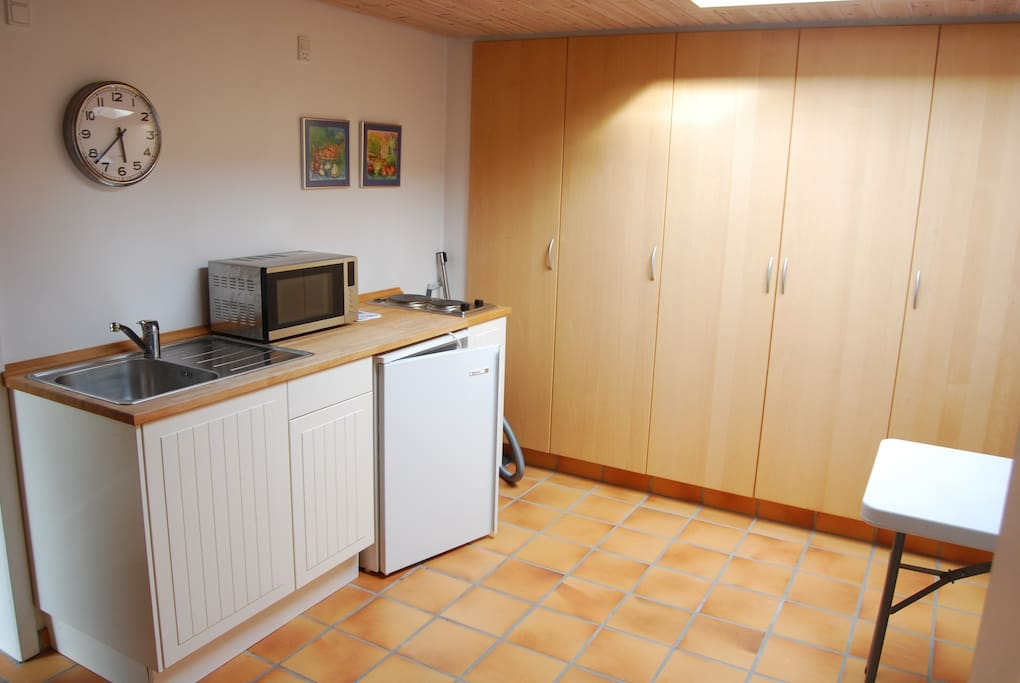 The room has access to a kitchen with a microwave, fridge, sink and stove.