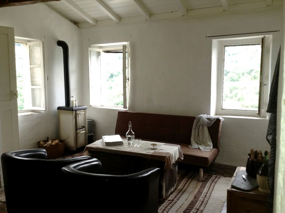 Cosy living area with views overlooking the mountains and historic Italian Village of Ceriana