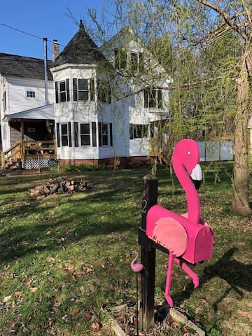 Our home's exterior with turret and flamingo mailbox