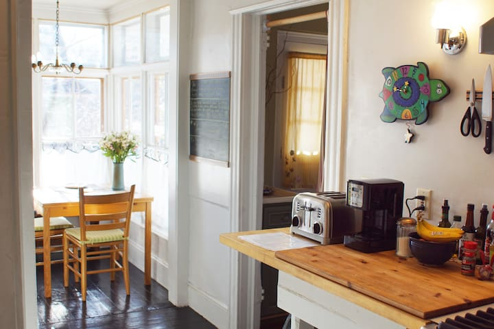 View from kitchen to breakfast nook.