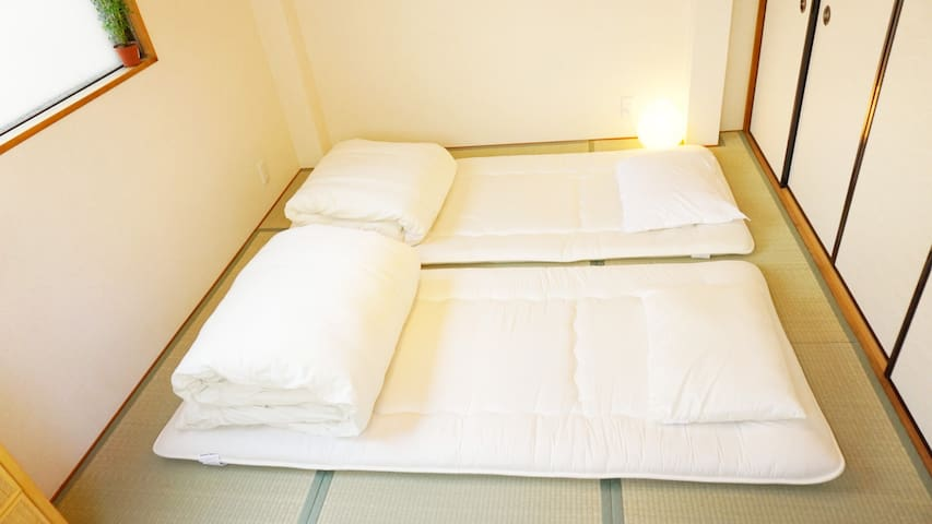 Japanese room, Tatami & bed near 大阪駅 Umeda station