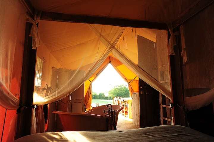 Luxury safari tents in Burgundy!