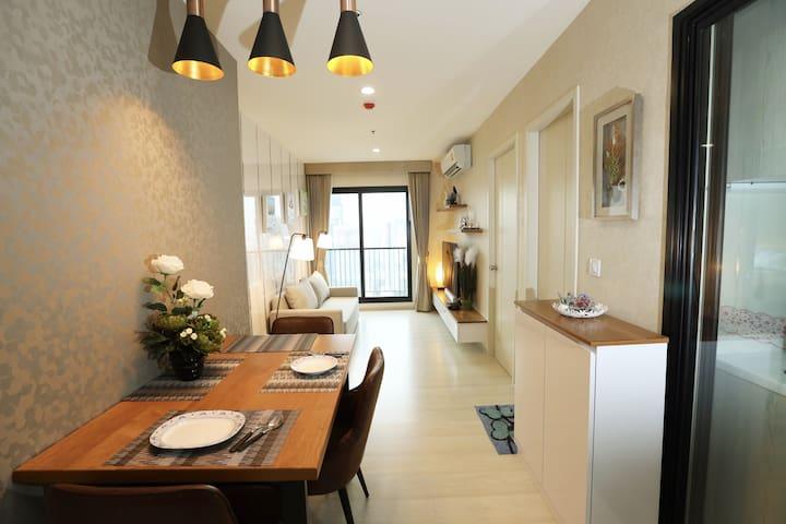 Spacious 2bedrooms in Asoke/airport link溫馨公寓機場綫和地鐵