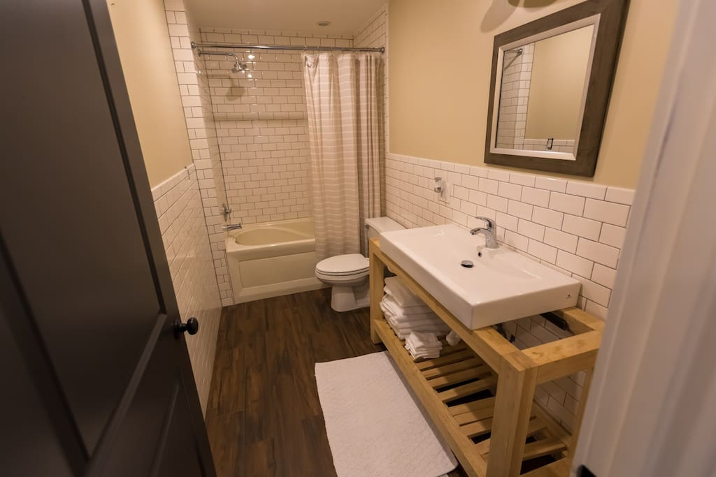 Your bathroom is located just down the hall, a full counter top sink and jacuzzi tub & shower.
