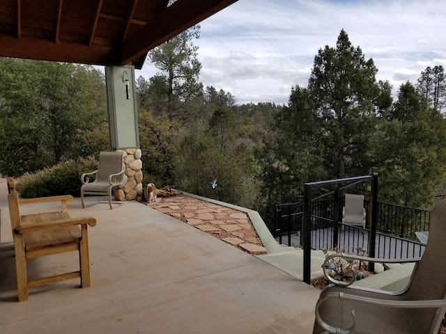 Front Porch and deck with long range mountain views