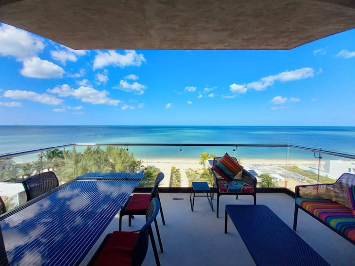 Ocean views from all the bedrooms of this Deluxe beachfront Condo, Paradise