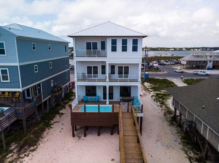 BRAND NEW Luxury Beachfront Home with Private Pool, Elevator, sleeps 22!
