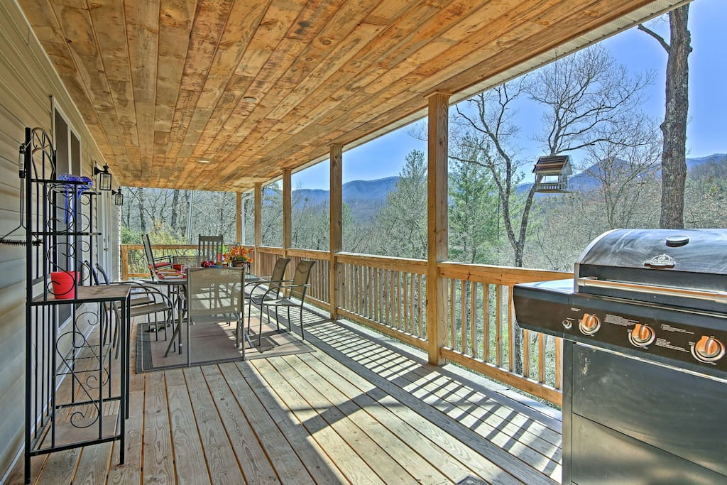 You'll have mountain top views from the private, covered deck.