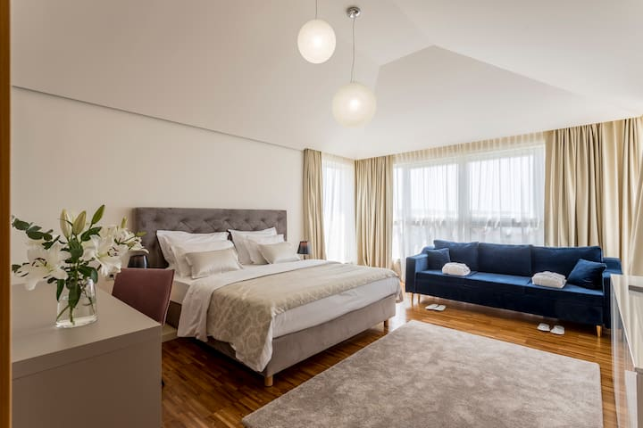 Room 1 - double bed with extra sofa bed which is convenient for 2 adults