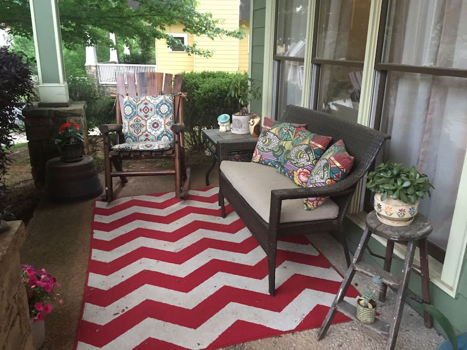 Great front porch to relax on with a glass of wine