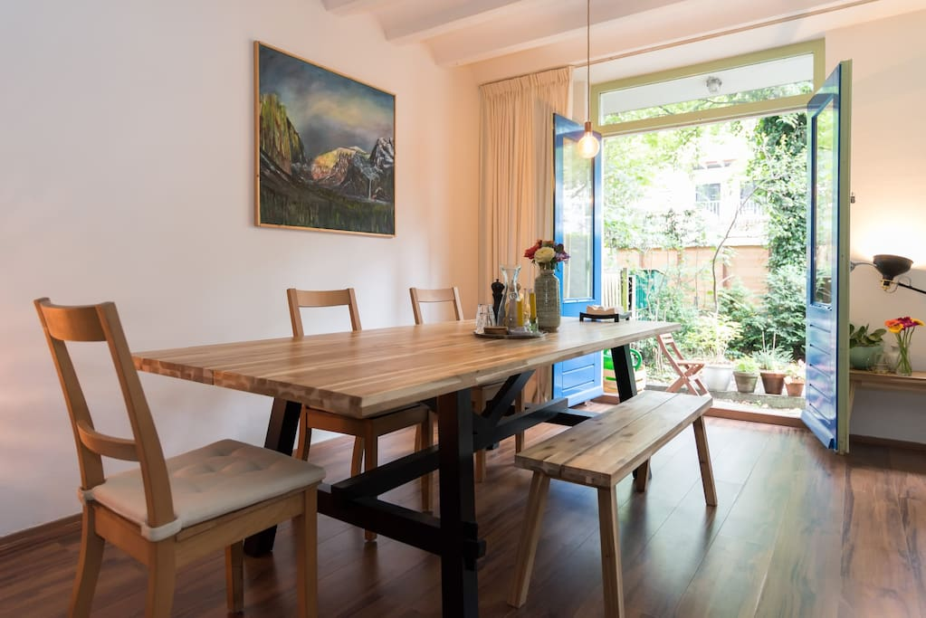 Eating table and french doors