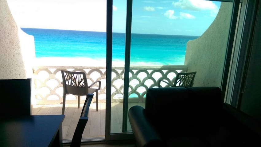 Amazing views of Caribbean sea from balconies, pool and hallways in the building.
