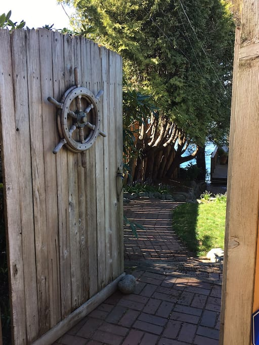 The Ship's Wheel on our gate will guide you in.