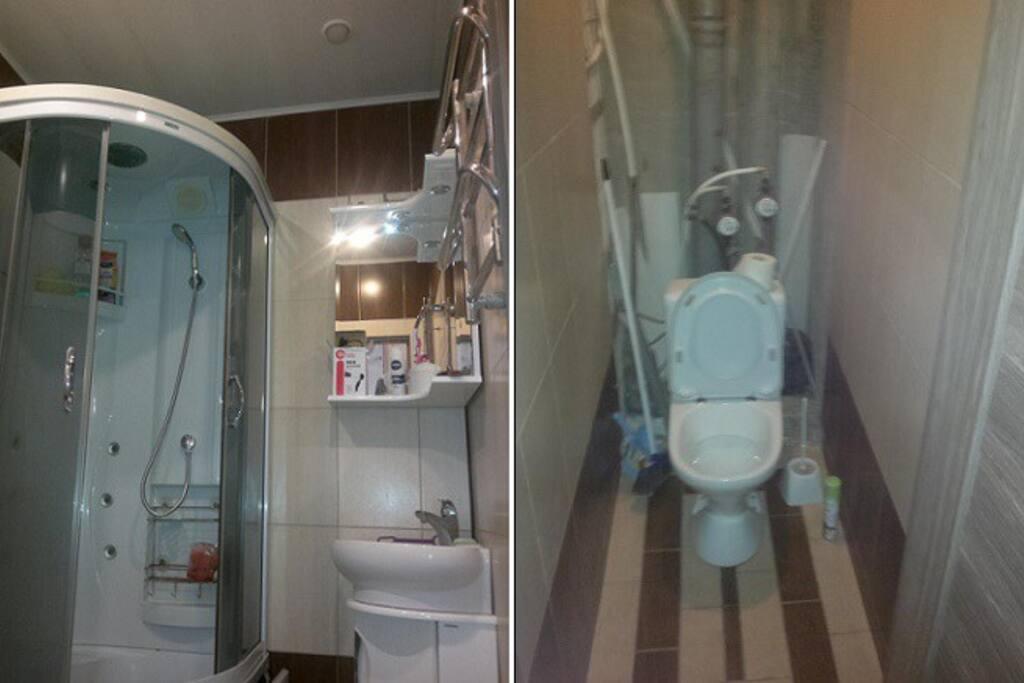Это санузел. Недавно после ремонта. Туалет, правда, не до конца доделан (видно на фото). Душ кабина с джакузи. Есть гель для душа/шампунь, губка для мытья, фен.