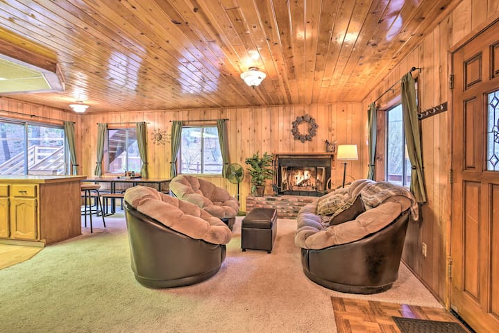 The spacious interior is both rustic and elegant.