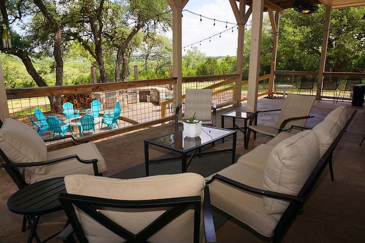 Inviting back patio with plenty of seating.