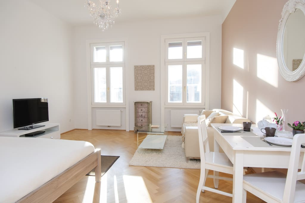 Antic viennese windows entirely renovated, nice and comfortable furnishing