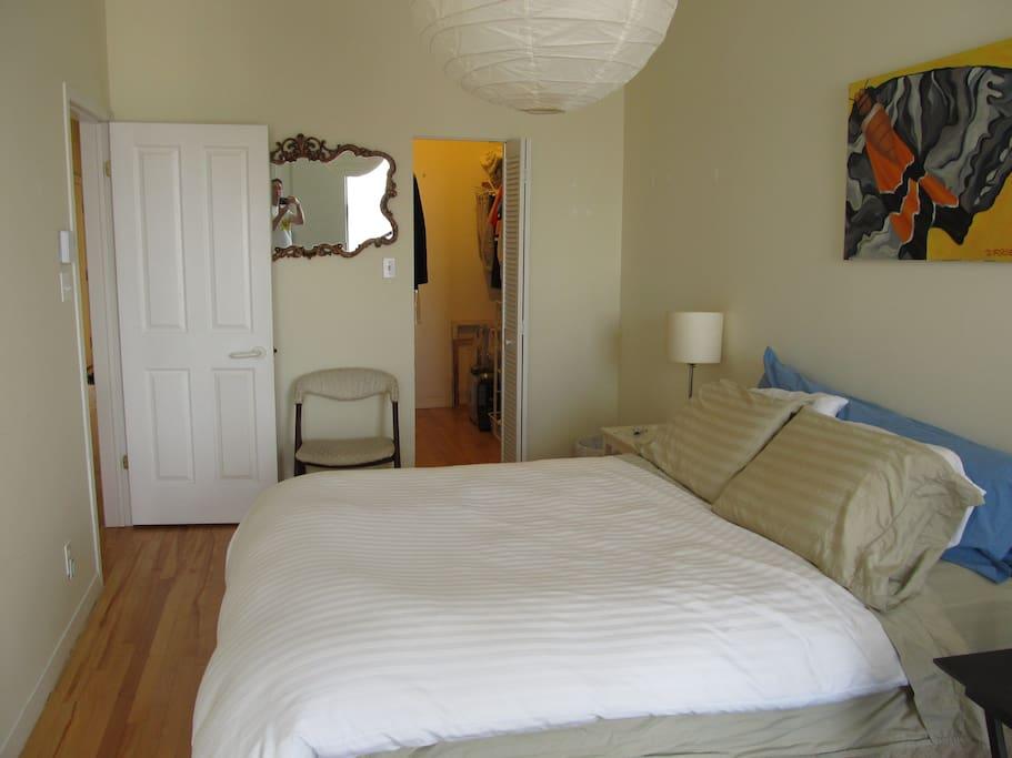 Your bedroom (queen-sized bed).